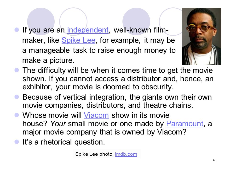 If you are an independent, well-known film-