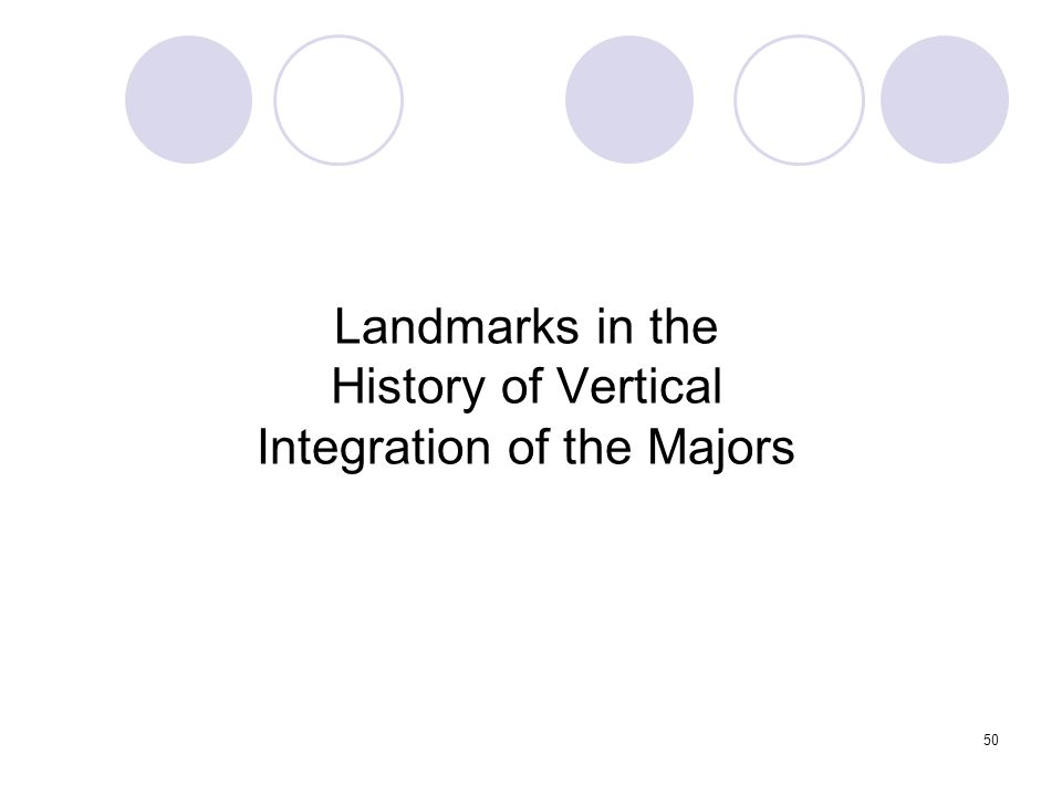 Landmarks in the History of Vertical Integration of the Majors