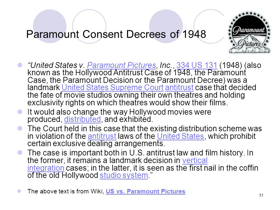 Paramount Consent Decrees of 1948
