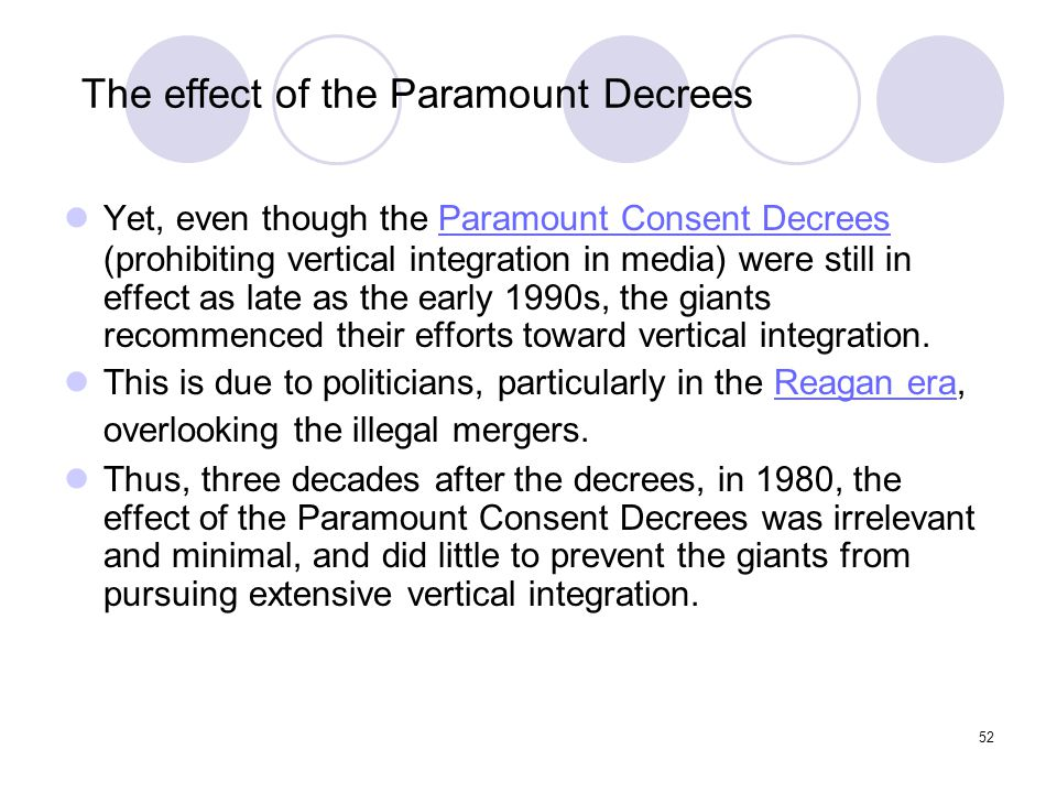 The effect of the Paramount Decrees