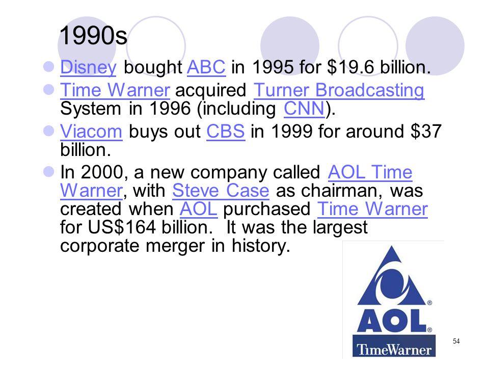 1990s Disney bought ABC in 1995 for $19.6 billion.