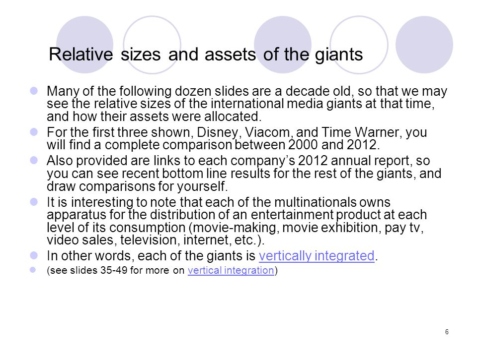 Relative sizes and assets of the giants