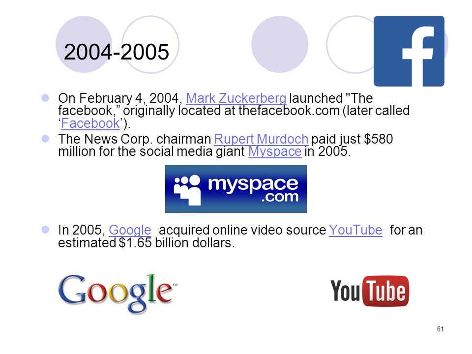 2004-2005 On February 4, 2004, Mark Zuckerberg launched The facebook, originally located at thefacebook.com (later called 'Facebook').