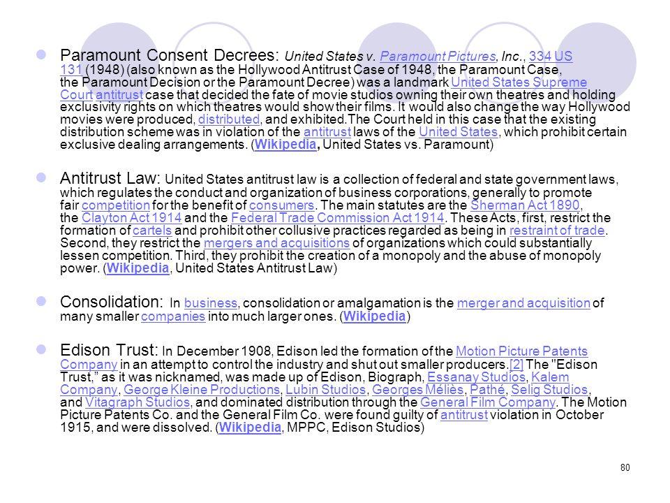 Paramount Consent Decrees: United States v. Paramount Pictures, Inc
