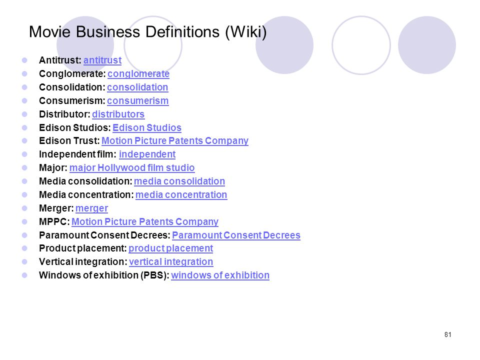 Movie Business Definitions (Wiki)
