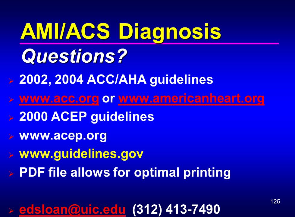 AMI/ACS Diagnosis Questions