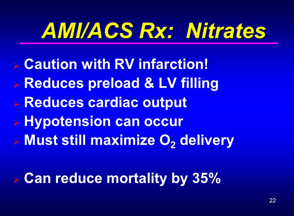 AMI/ACS Rx: Nitrates Caution with RV infarction!