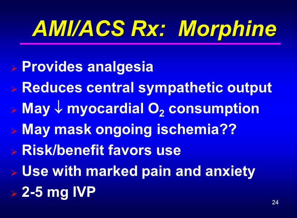 AMI/ACS Rx: Morphine Provides analgesia