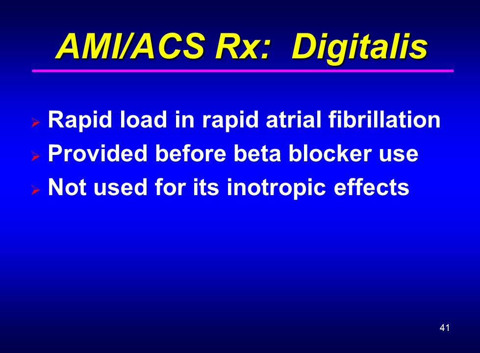 AMI/ACS Rx: Digitalis Rapid load in rapid atrial fibrillation