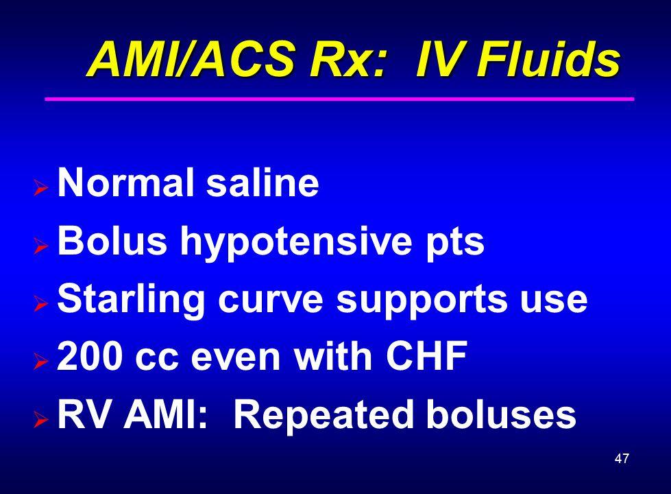 AMI/ACS Rx: IV Fluids Normal saline Bolus hypotensive pts