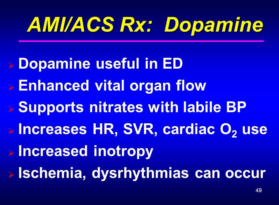 AMI/ACS Rx: Dopamine Dopamine useful in ED Enhanced vital organ flow