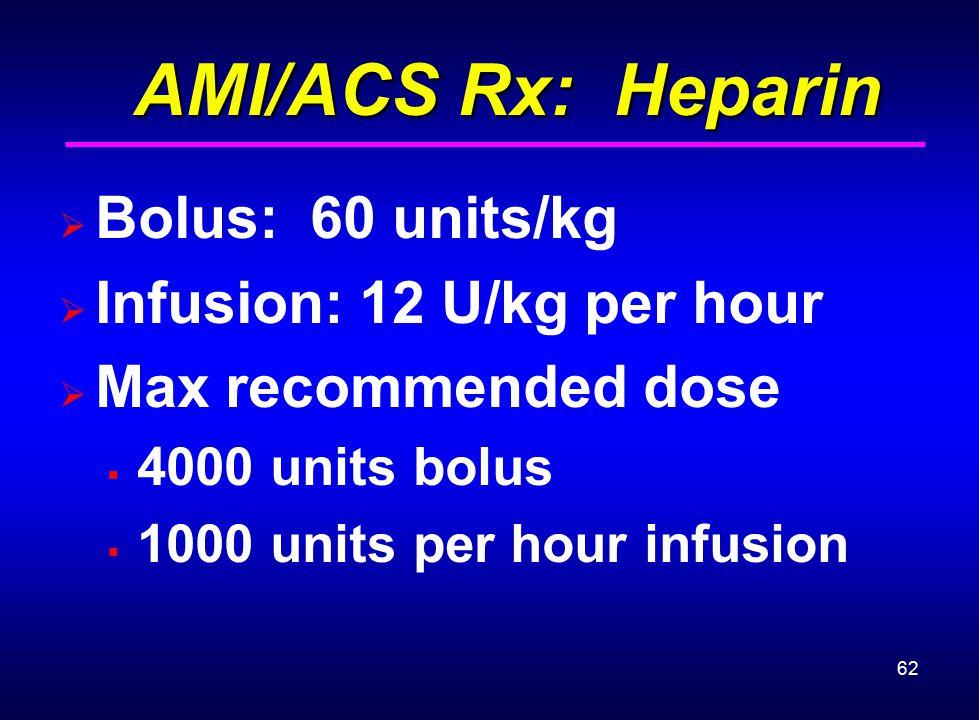 AMI/ACS Rx: Heparin Bolus: 60 units/kg Infusion: 12 U/kg per hour