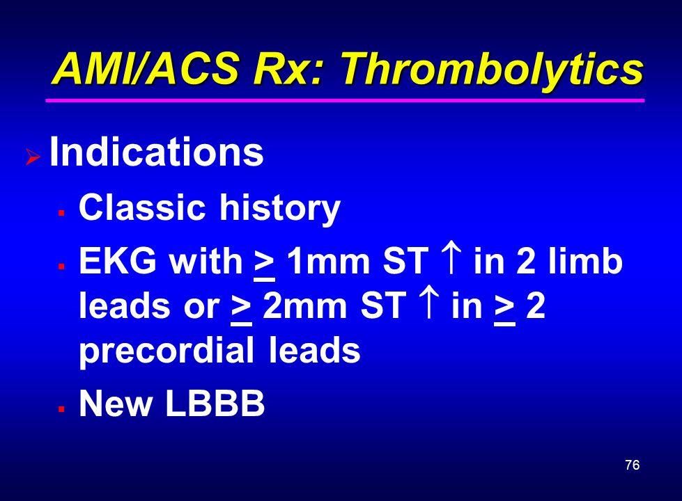 AMI/ACS Rx: Thrombolytics