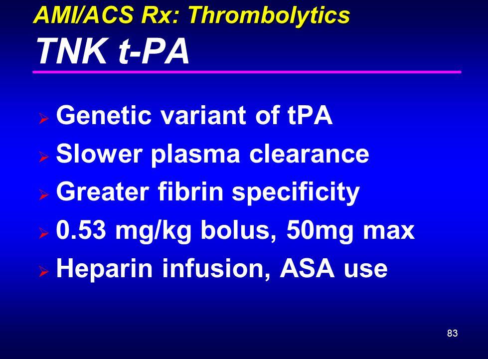 AMI/ACS Rx: Thrombolytics TNK t-PA
