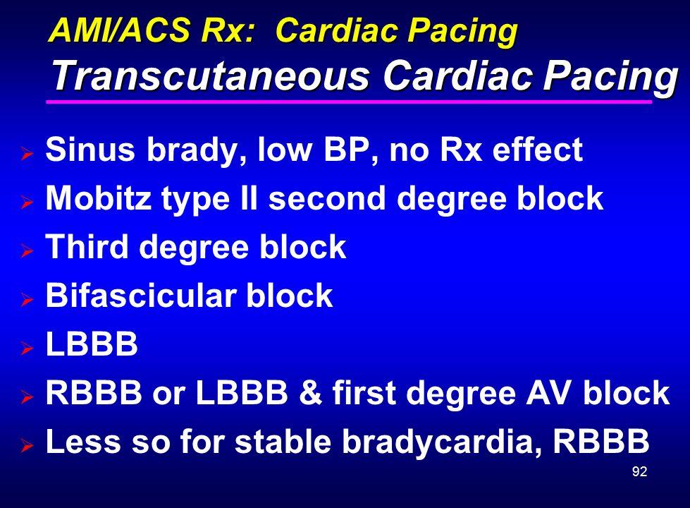 AMI/ACS Rx: Cardiac Pacing Transcutaneous Cardiac Pacing