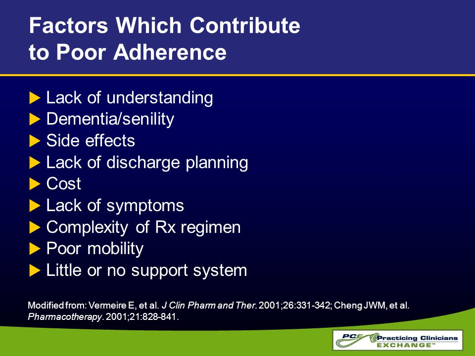 Factors Which Contribute to Poor Adherence