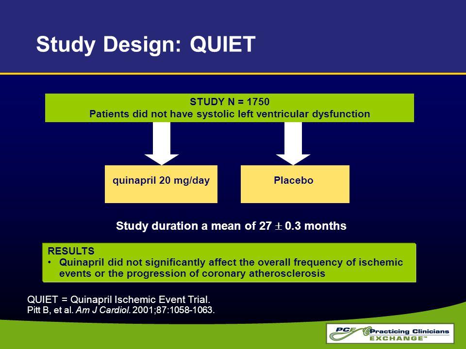 Study Design: QUIET Study duration a mean of 27  0.3 months
