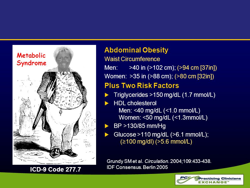 Abdominal Obesity Plus Two Risk Factors Metabolic Syndrome