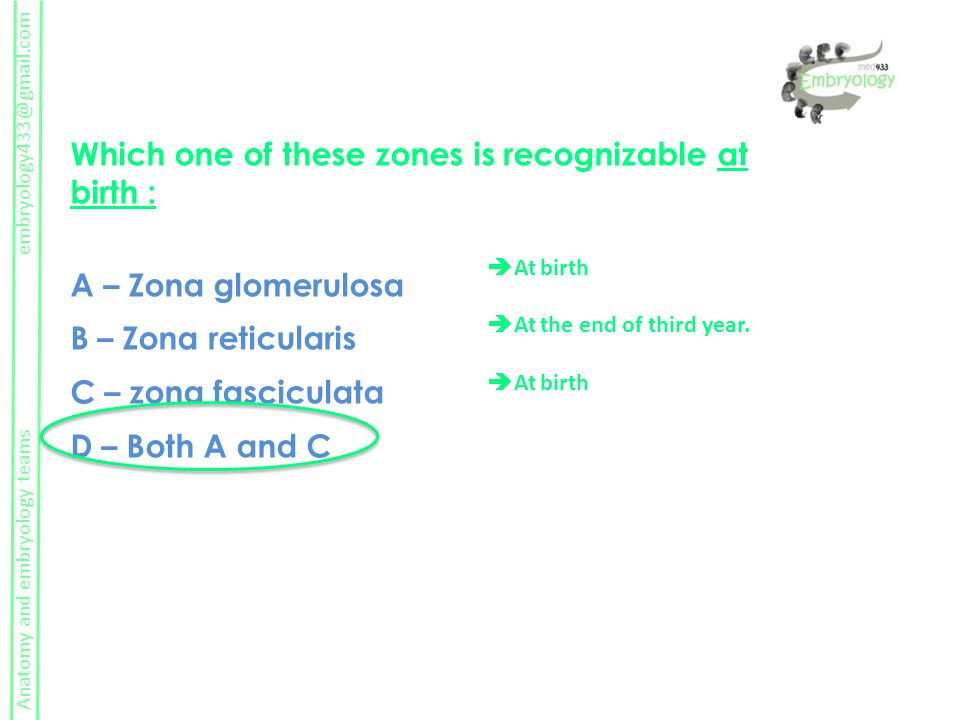 Which one of these zones is recognizable at birth :