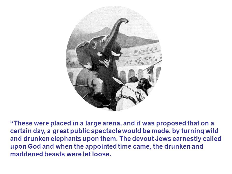 These were placed in a large arena, and it was proposed that on a certain day, a great public spectacle would be made, by turning wild and drunken elephants upon them.