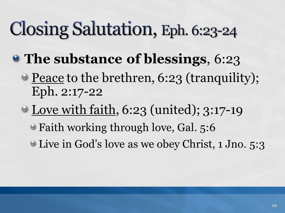 Closing Salutation, Eph. 6:23-24