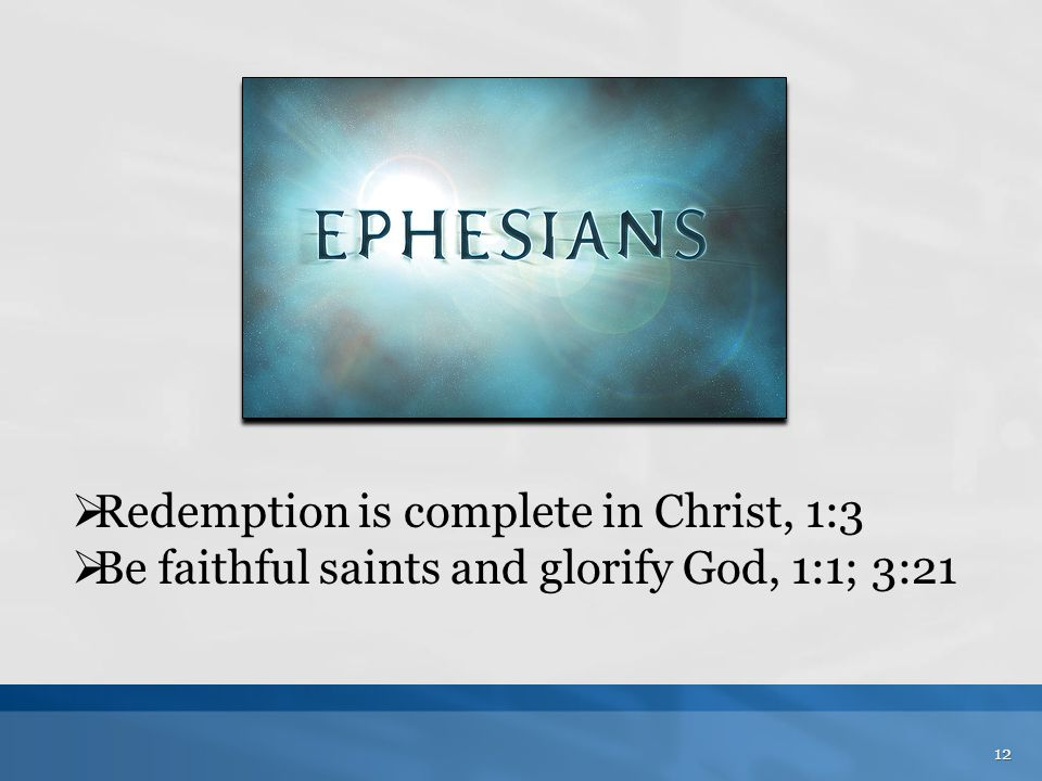Redemption is complete in Christ, 1:3