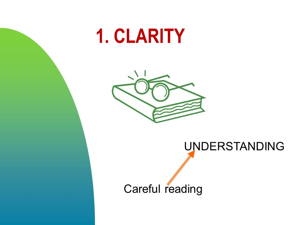 1. CLARITY UNDERSTANDING Careful reading 4/13/2017