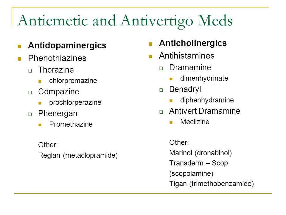 Antiemetic and Antivertigo Meds