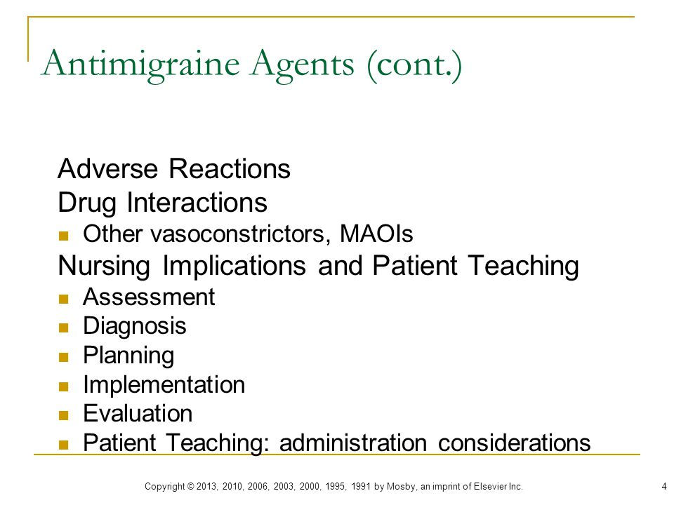 Antimigraine Agents (cont.)