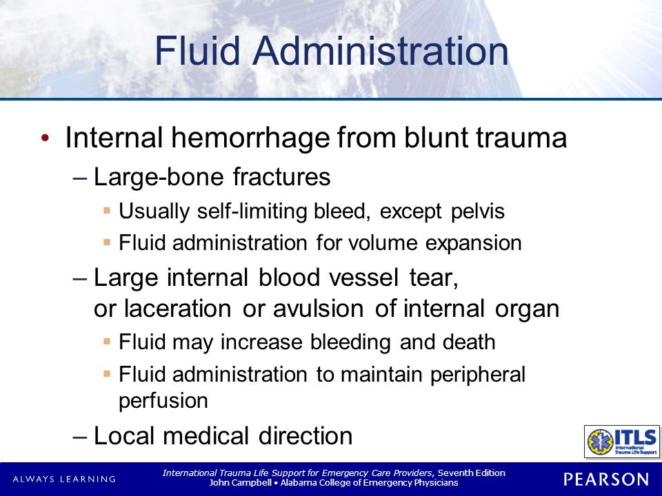 Fluid Administration Uncontrollable hemorrhage