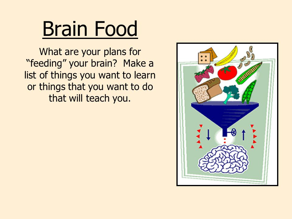 Brain Food What are your plans for feeding your brain.