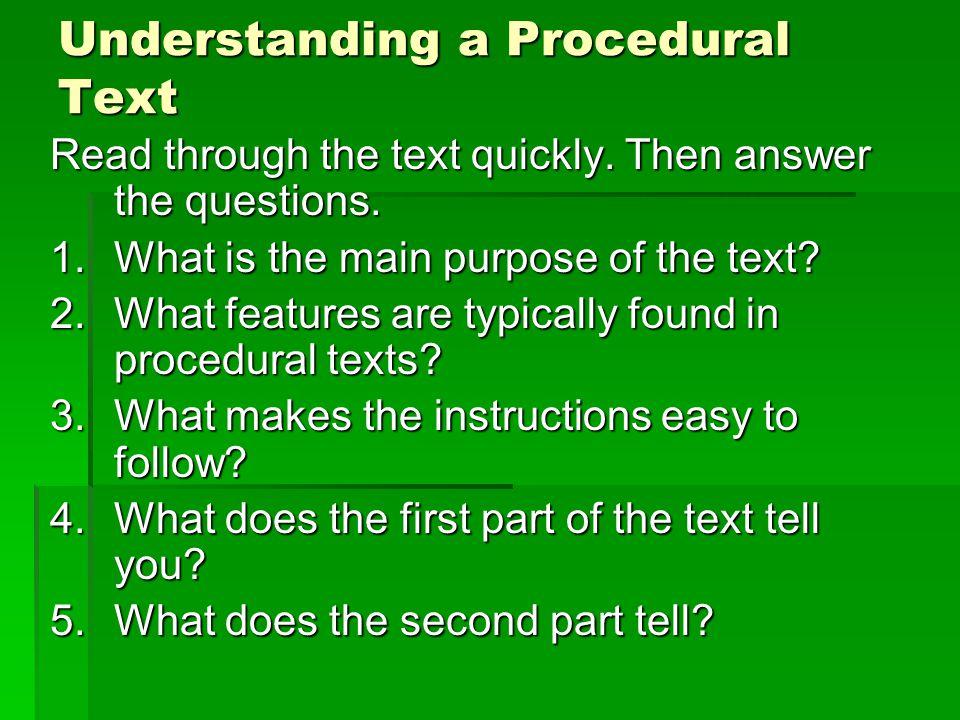 Understanding a Procedural Text