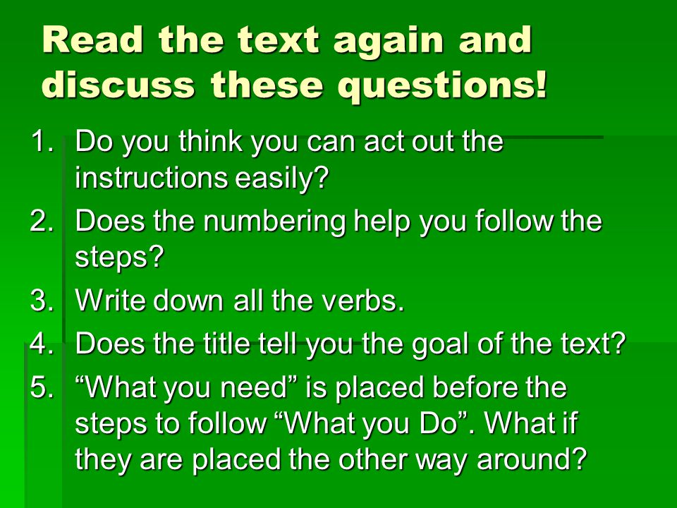Read the text again and discuss these questions!