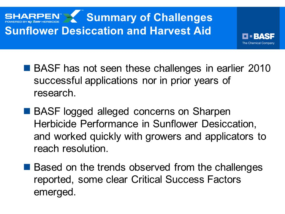 Summary of Challenges Sunflower Desiccation and Harvest Aid