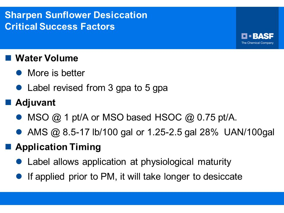 Sharpen Sunflower Desiccation Critical Success Factors