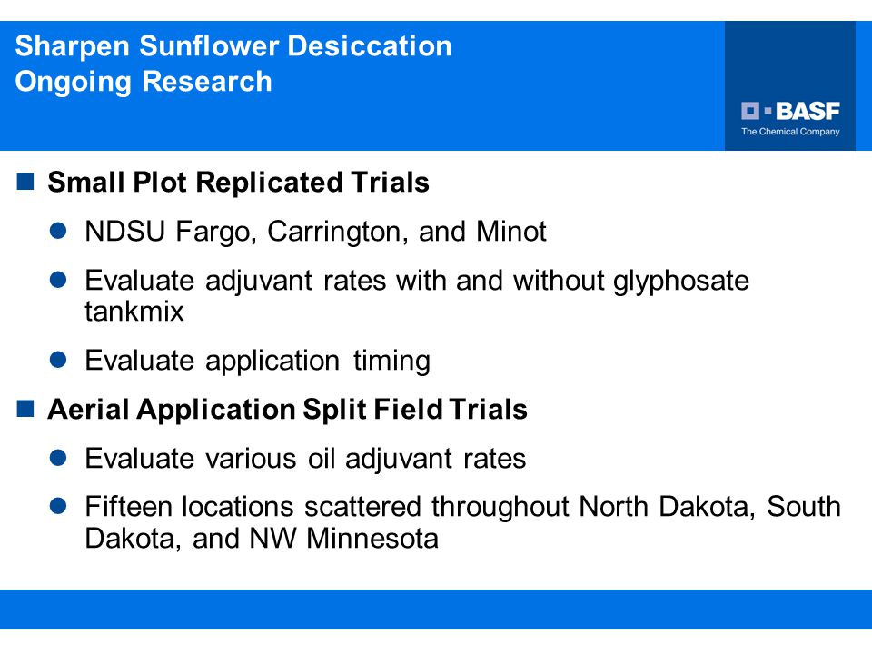 Sharpen Sunflower Desiccation Ongoing Research