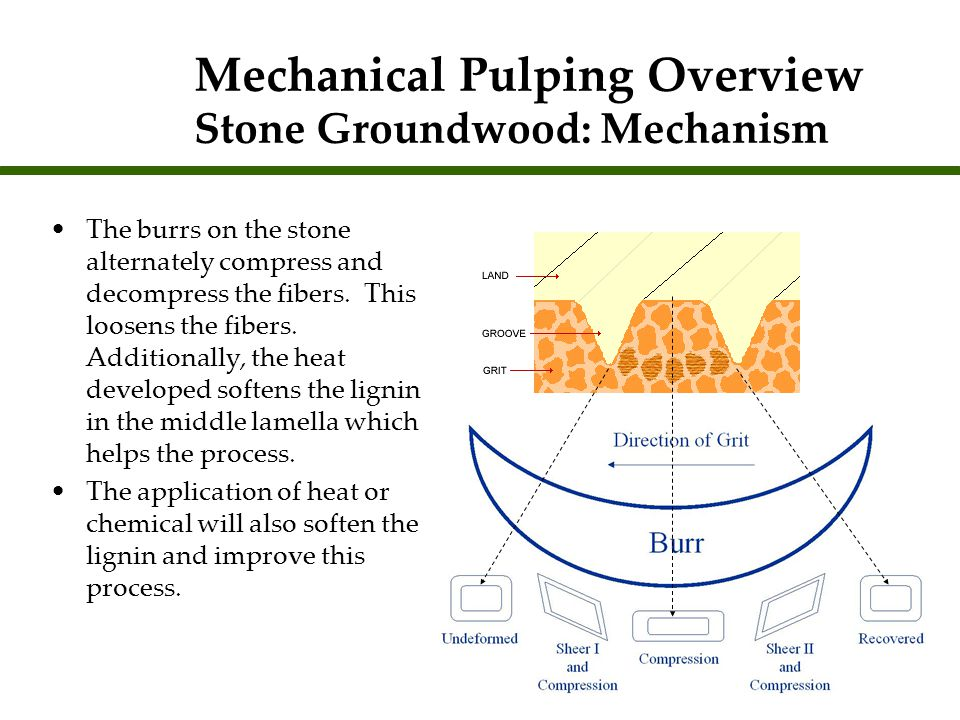 Mechanical Pulping Overview Stone Groundwood: Mechanism
