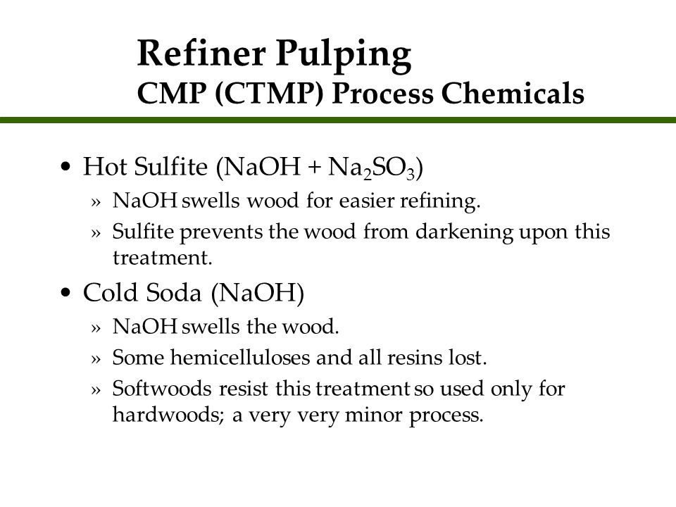 Refiner Pulping CMP (CTMP) Process Chemicals