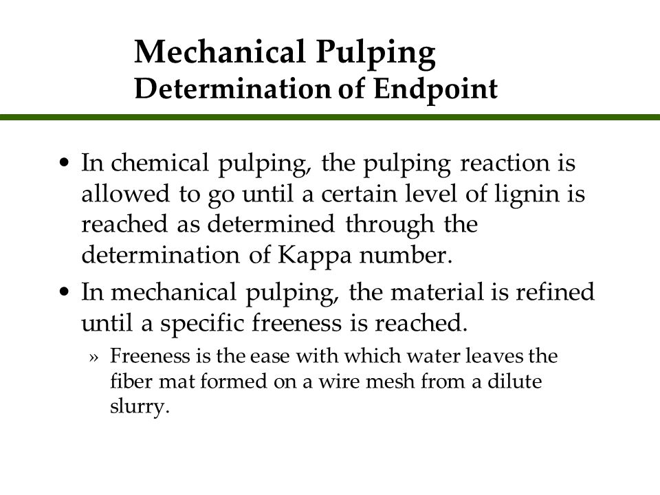 Mechanical Pulping Determination of Endpoint