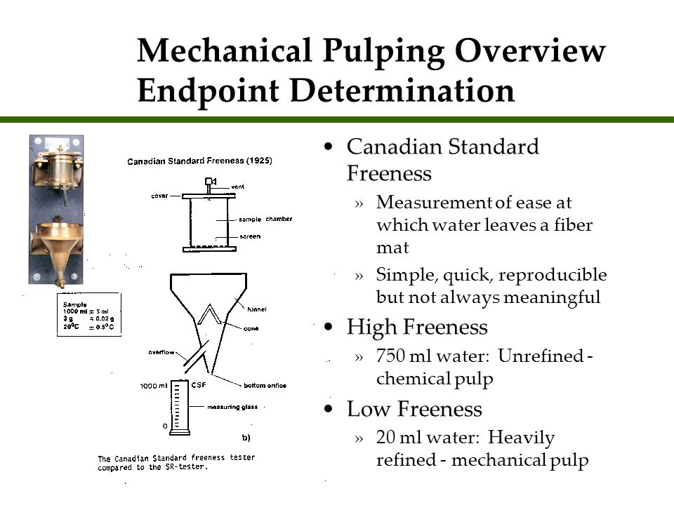 Mechanical Pulping Overview Endpoint Determination