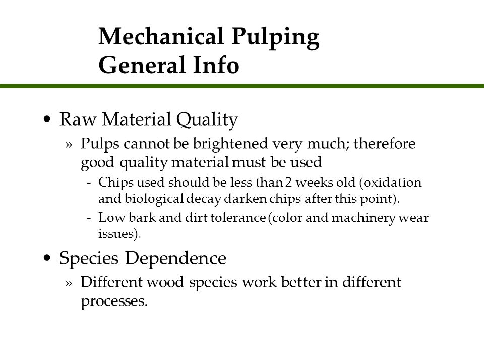 Mechanical Pulping General Info