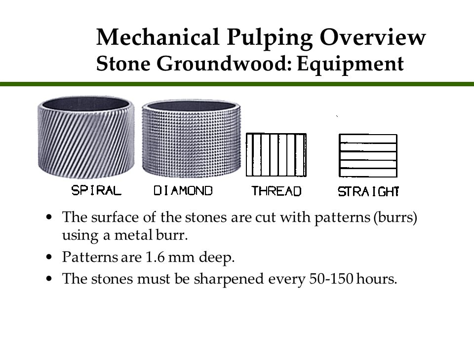 Mechanical Pulping Overview Stone Groundwood: Equipment