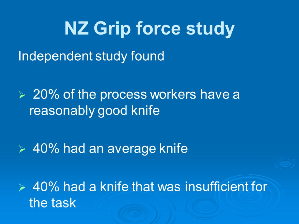 NZ Grip force study Independent study found