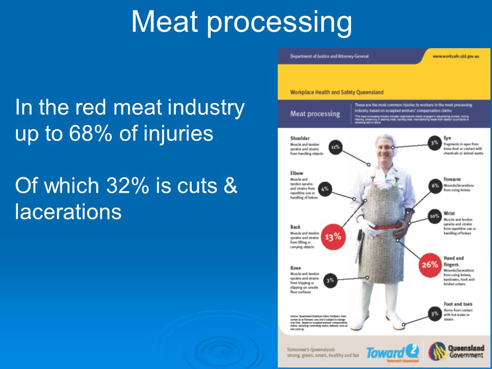 Meat processing In the red meat industry up to 68% of injuries