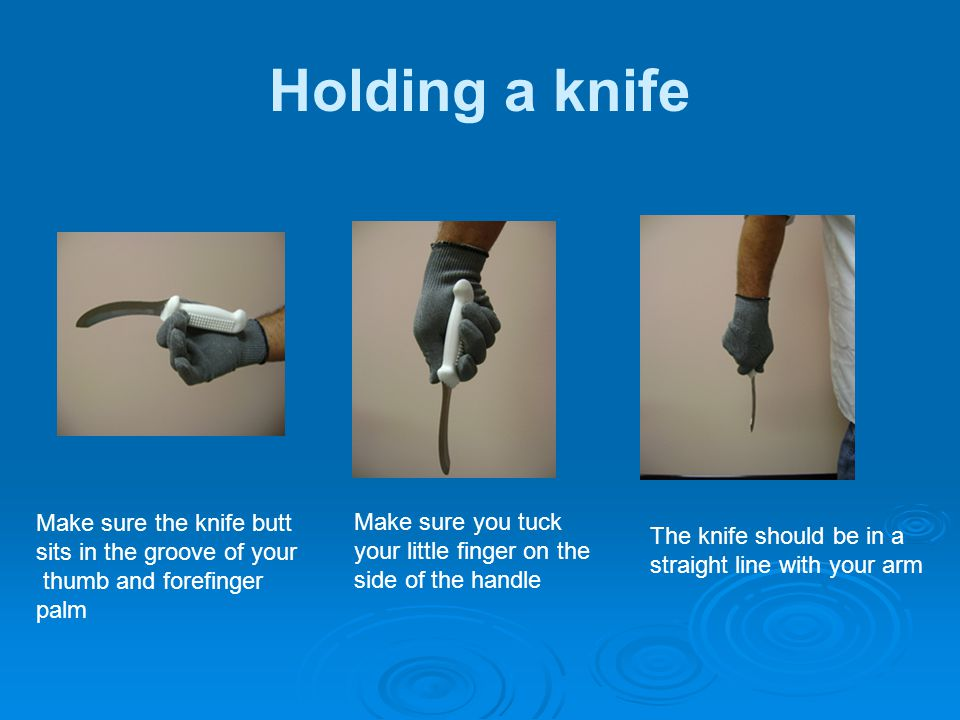 Holding a knife Make sure the knife butt