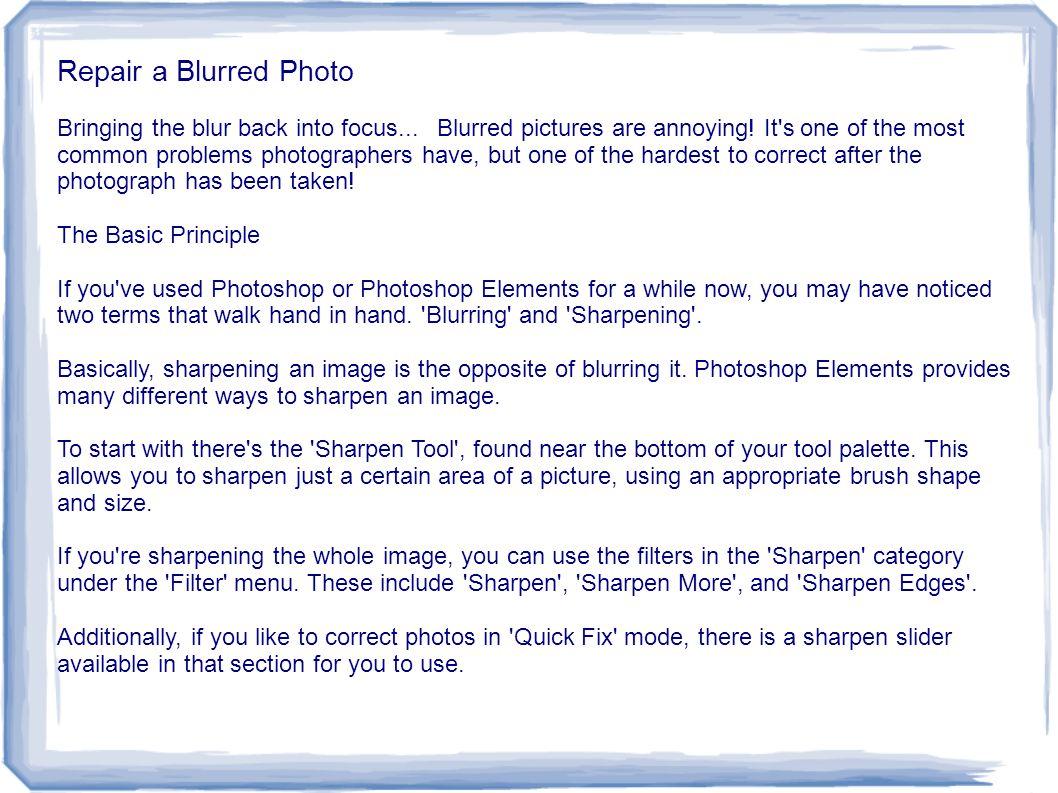 Repair a Blurred Photo
