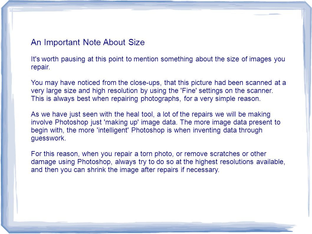 An Important Note About Size