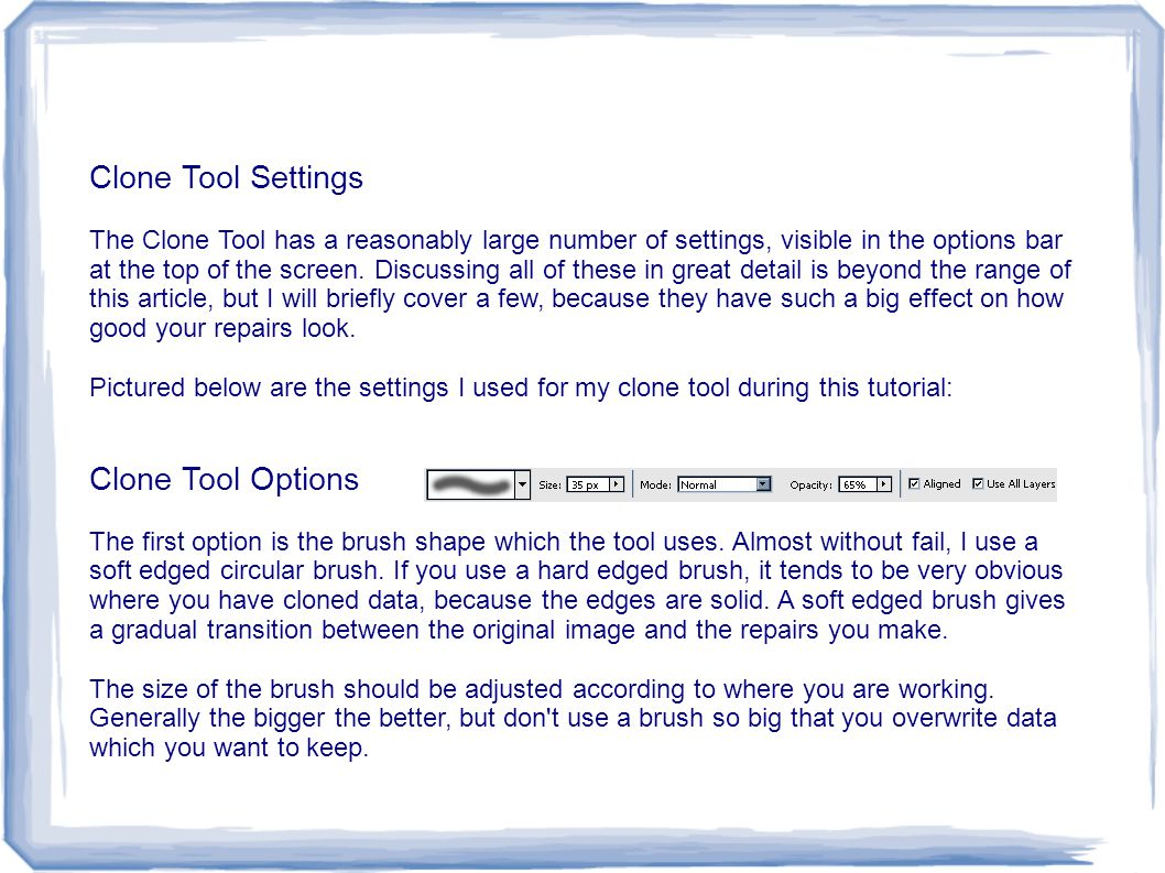 Clone Tool Settings Clone Tool Options