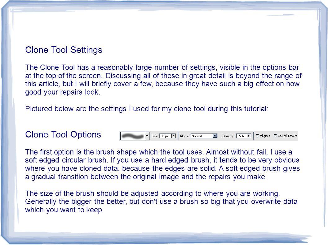 Clone Tool Settings Clone Tool Options
