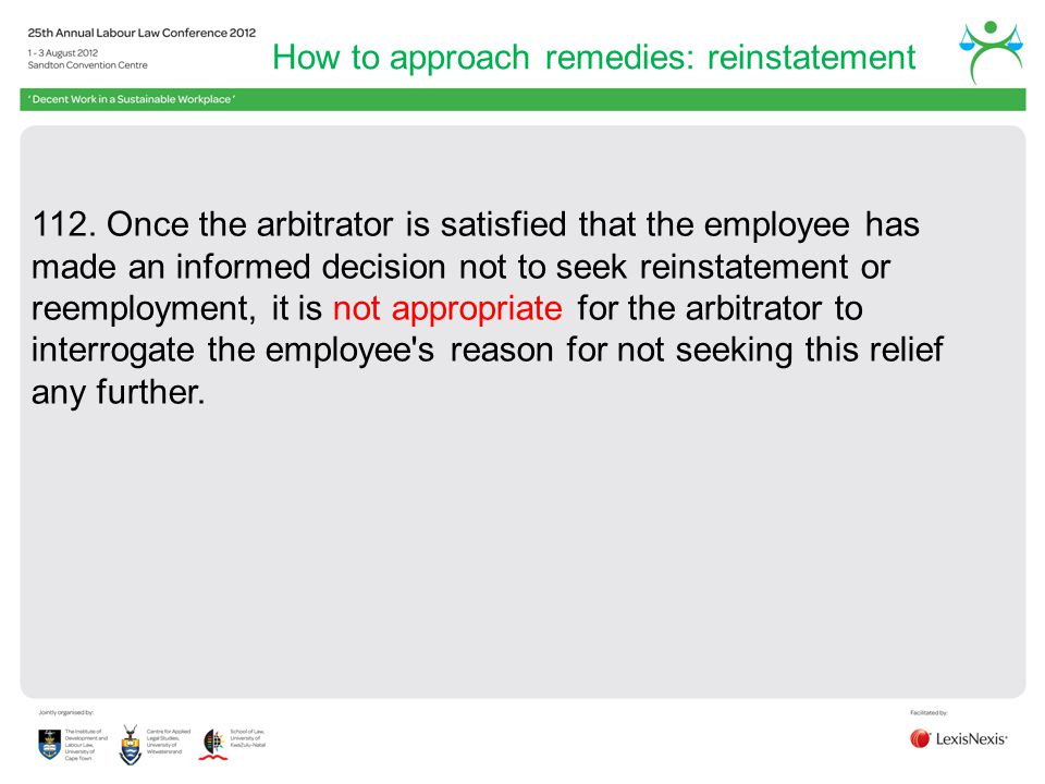 How to approach remedies: reinstatement